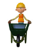 Builder 3d with wheelbarrow Royalty Free Stock Images