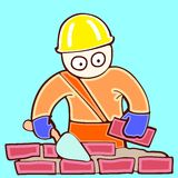 Builder does a new wall. Illustration of working bricklayer in a helmet on building Royalty Free Stock Photos