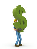 Builder with dollar Royalty Free Stock Images