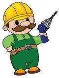 Builder with a drill. An illustration of a builder with a drill Royalty Free Stock Photo