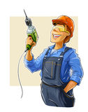 Builder with drill. Illustration  on white background Stock Photos