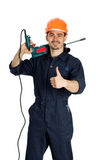 Builder with drill isolated on white background Royalty Free Stock Image