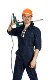 Builder with drill isolated on white background Stock Photos