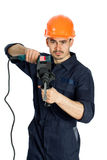 Builder with drill isolated on white background Stock Images