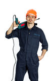Builder with drill isolated on white background Stock Photo