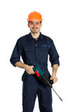 Builder with drill isolated on white background Royalty Free Stock Photos