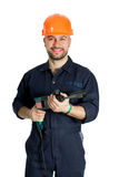Builder with drill isolated on white background Royalty Free Stock Photo