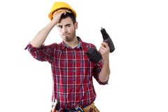 Builder with the drill Stock Photo