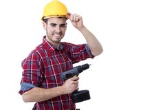 Builder with the drill Royalty Free Stock Image