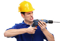 Builder drilling Royalty Free Stock Photo
