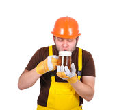 Builder drinking beer Royalty Free Stock Photo