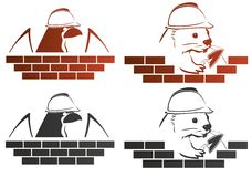 Builder. Eagle and beaver builders put a brick on a white background Stock Photos