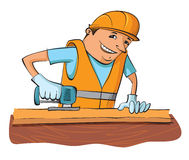 Builder with electric saw Royalty Free Stock Image
