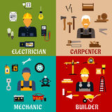 Builder, electrician, mechanic and carpenter icons. Builder, electrician, mechanic and carpenter profession flat icons showing men with hand and power tools royalty free illustration