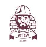 Builder emblem on a brick wall background with ribbon. logo. royalty free illustration