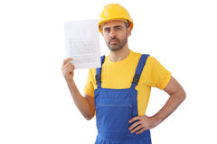 Builder with empty page isolated on white Stock Image