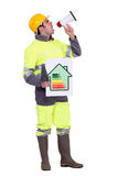 Builder with energy rating poster Stock Image