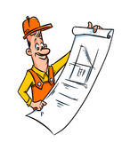 Builder engineer cartoon illustration Royalty Free Stock Photo