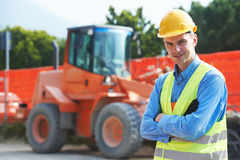 Builder engineer at construction site Stock Photos