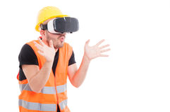 Builder or engineer enjoying virtual reality Royalty Free Stock Photos