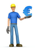Builder with euro Royalty Free Stock Photos