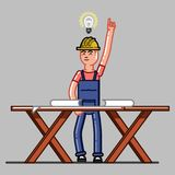 Builder exploring the drawings. And finds a solution. Vector sketch cartoon illustration Royalty Free Stock Images