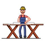 Builder exploring the drawings. Vector sketch cartoon illustration Royalty Free Stock Photos