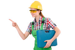 Builder female with toolbox pointing isolated Stock Image