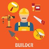 Builder with flat tools icons Royalty Free Stock Photo