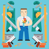 Builder with flowers. Set flat. Royalty Free Stock Photo