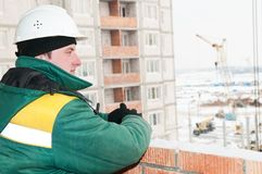 Builder foreman at construction site Stock Photos