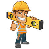 Builder. Friendly builder with helmet, carrying a level bubble and a belt with tools royalty free illustration