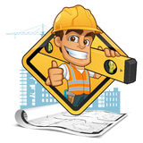 Builder. Friendly builder with helmet, carrying a level bubble and a belt with tools stock illustration