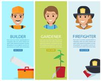 Builder, Gardener and Firefighter Vector Banners. Builder poster with working tool, gardener banner and instrument near flower in pot and firefighter with Royalty Free Stock Images