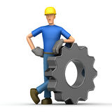 Builder with gears Stock Photos