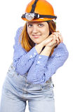 Builder Girl in a helmet Stock Photography