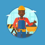 Builder giving thumb up vector illustration. Stock Photos