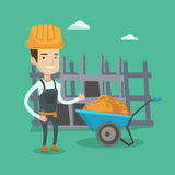 Builder giving thumb up vector illustration. Young cheerful builder in hard hat giving thumb up. A builder with thumb up standing on a background of royalty free illustration