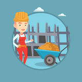 Builder giving thumb up vector illustration. Royalty Free Stock Images