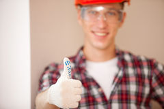 Builder giving a thumbs up Royalty Free Stock Photo