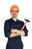 Builder with hammer isolated on white background. Young worker standing with hammer isolated on white background Royalty Free Stock Photo