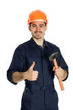 Builder with hammer isolated on white background Stock Photography