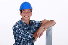 Builder with hammer Stock Images