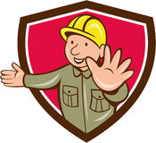 Builder Hand Stop Signal Crest Cartoon Stock Photos