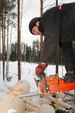 Builder handles log using chainsaw, cut out round saddle notch. Royalty Free Stock Image