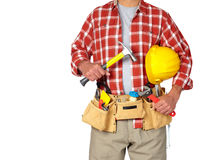 Builder handyman with construction tools. Builder handyman with construction tools on white background stock photo