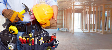 Free Builder Handyman With Construction Tools. Royalty Free Stock Images - 89838029