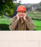 Builder with hard hat Royalty Free Stock Photos