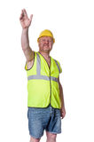 Builder in hard hat directing - isolated on white Royalty Free Stock Image