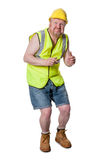 Builder in hard hat, ducking - isolated on white Stock Photo